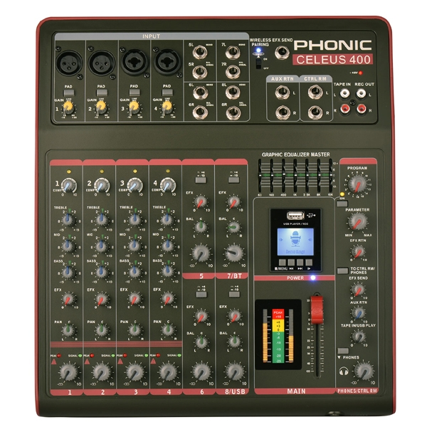 Phonic - [CELEUS 400] Mixer 12 canali con effetti USB e bluetooth
