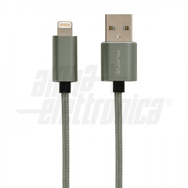 Alpha Elettronica - 95-664/3GR CAVO USB-A LIGHTING M/M 1M DARKGREY MFI
