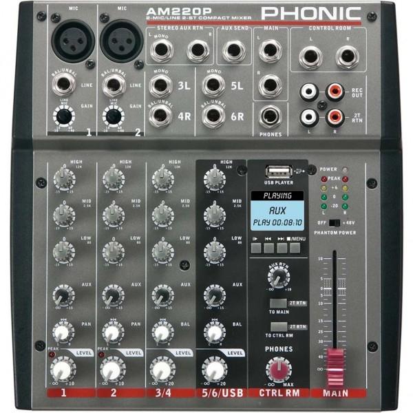 Phonic - [AM220P] Mixer 6 canali con lettore MP3