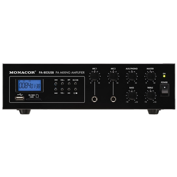Monacor International - PA-803USB AMPLIMIXER 100V CON MP3