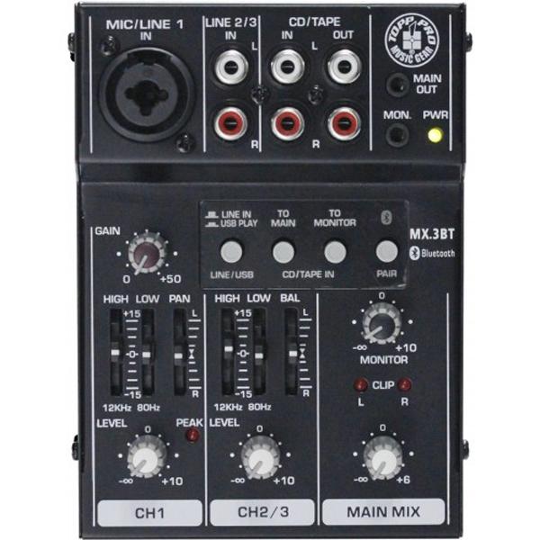 Topp Pro - [MX3BT] Mixer 3 canali con funzione USB e Bluetooth
