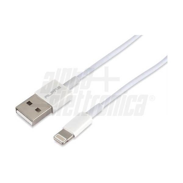 Alpha Elettronica - 95-664/3W CAVO USB-A LIGHTING M/M 1M BIANCO MFI