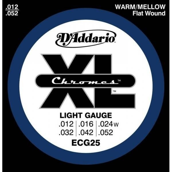 D'Addario - Flat Wound Chrome - ECG25 muta Light .012-.052