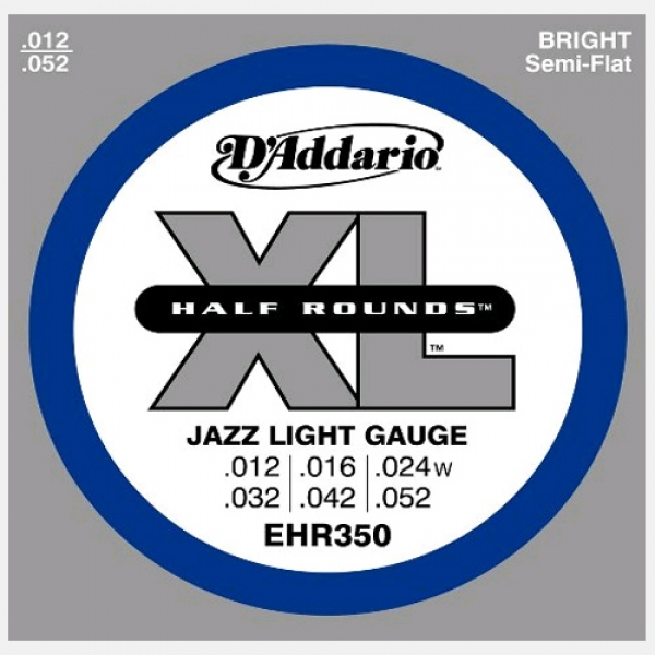 D'Addario - Half Round Heat Treated Stainless Steel - EHR350 muta Jazz Light .012-.052