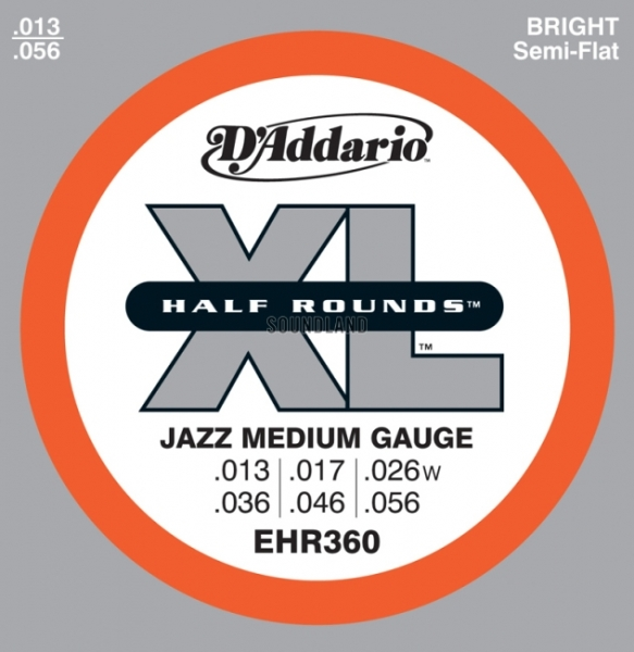 D'Addario - Half Round Heat Treated Stainless Steel - EHR360 muta Jazz Medium .013-.056