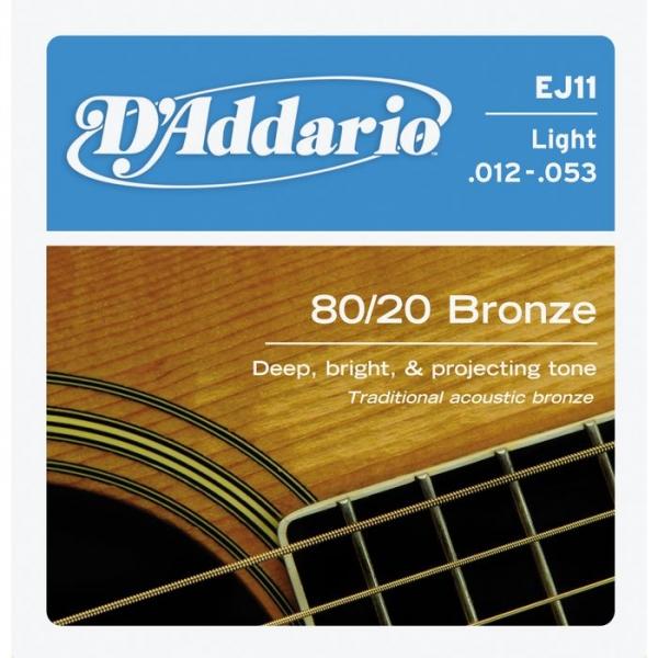 D'Addario - 80/20 Bronze Round Wound - EJ11 muta Light .012-.053
