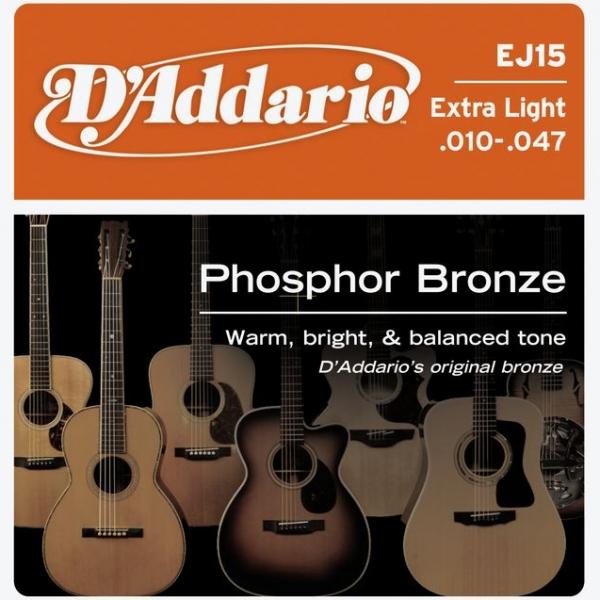 D'Addario - Phosphor Bronze Round Wound - EJ15 muta Extra Light .010-.047