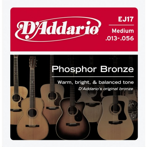 D'Addario - Phosphor Bronze Round Wound - EJ17 muta Medium .013-.056