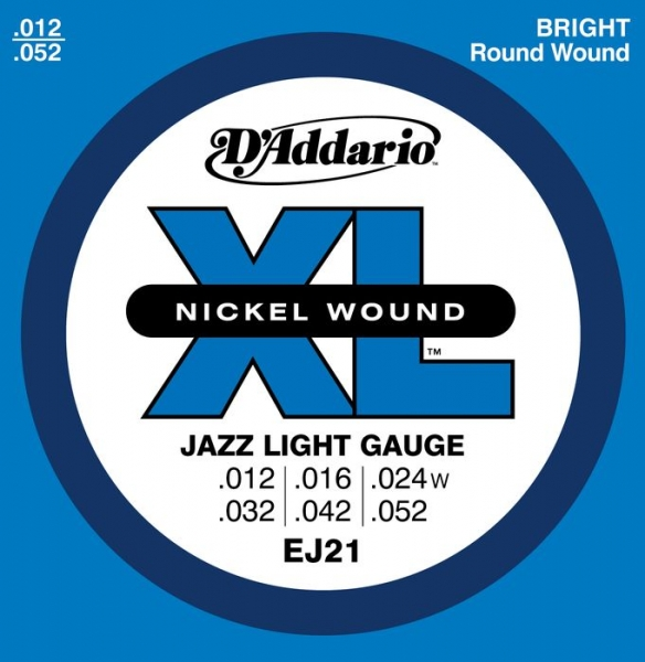 D'Addario - XL Nickel Round Wound - EJ21 muta Jazz Light .012-.052