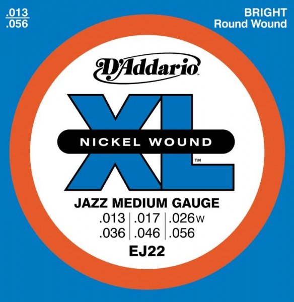 D'Addario - XL Nickel Round Wound - EJ22 Ser Jazz Medium .013-.056
