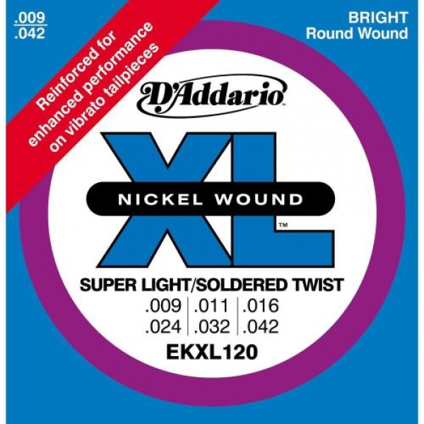 D'Addario - XL Nickel Round Wound - EKXL120 muta Super Light/Soldered Twists .009-.042