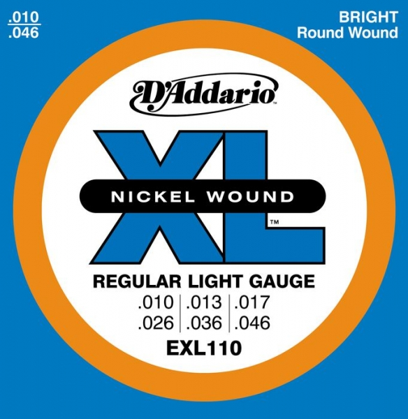 D'Addario - XL Nickel Round Wound - EXL110 muta Regular Light .010-.046