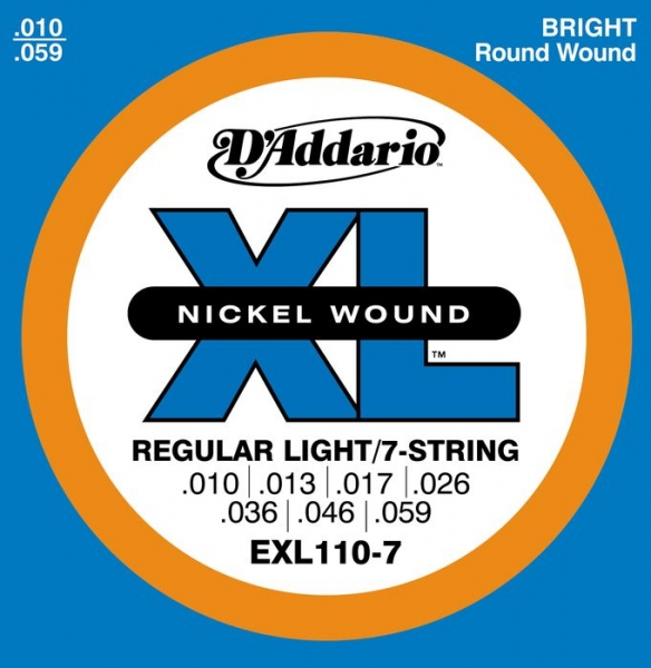 D'Addario - XL Nickel Round Wound - EXL110-7 muta Regular Light (7 Corde) .010-.056