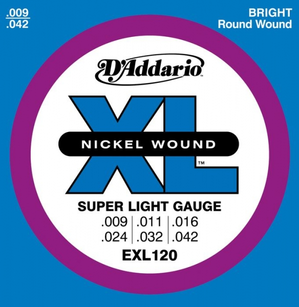 D'Addario - XL Nickel Round Wound - EXL120 muta Super Light .009-.042