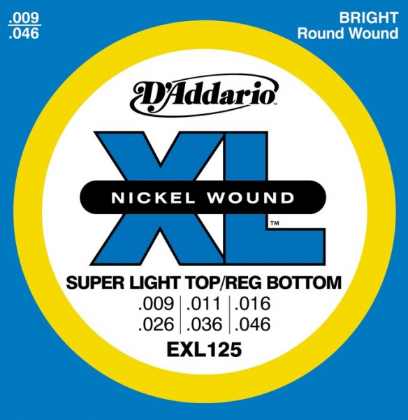 D'Addario - XL Nickel Round Wound - EXL125 muta Super Light Top/Reg. Bottom .009-.046