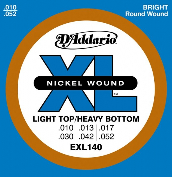 D'Addario - XL Nickel Round Wound - EXL140 muta Light Top/Heavy Bottom .010-.052