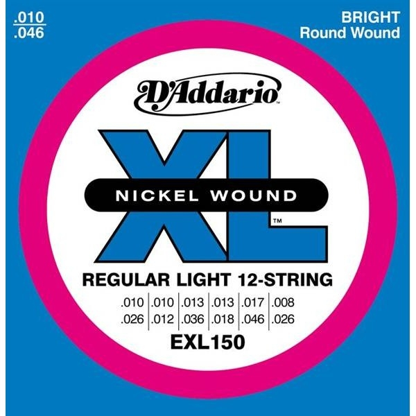 D'Addario - XL Nickel Round Wound - EXL150 muta Super Light (12 Corde) .010-.046