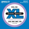 D'Addario - XL Nickel Round Wound - EXL190 muta Custom Light Long Scale .040-.100 Basso