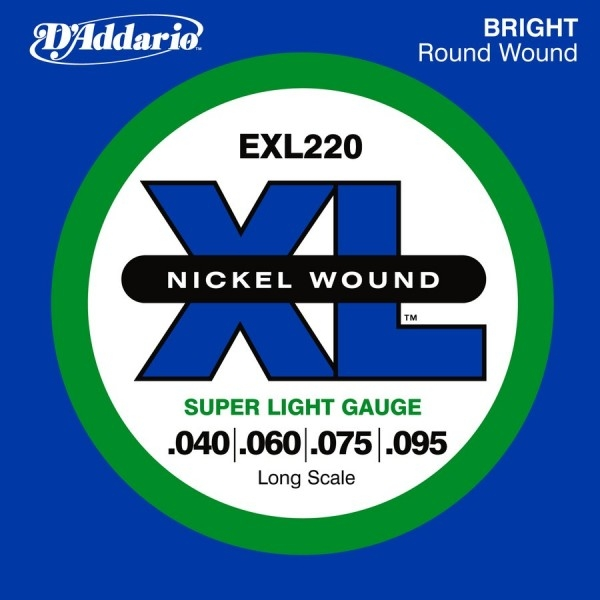 D'Addario - XL Nickel Round Wound - EXL220 muta Super Light Long Scale .040-.095 Basso