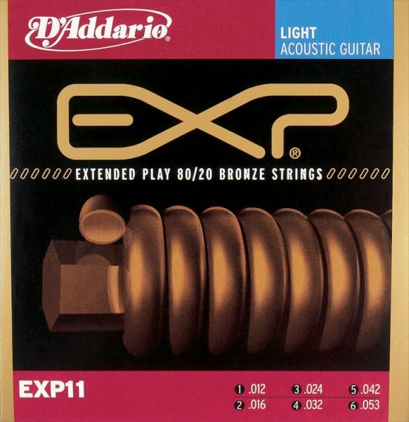 D'Addario - EXP Coated 80/20 Bronze Round Wound - EXP11 muta 80/20 Light .012-.053
