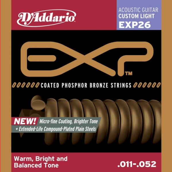 D'Addario - EXP Coated Phosphor Bronze Round Wound - EXP26 muta EXP Coated PB Custom Light .011-.052