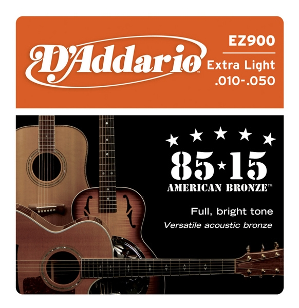 D'Addario - 85/15 Great American Bronze Round Wound - EZ900 muta Extra Light .010-.050