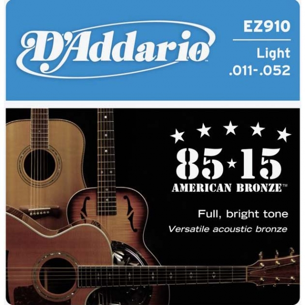 D'Addario - 85/15 Great American Bronze Round Wound - EZ910 muta Light .011-.052