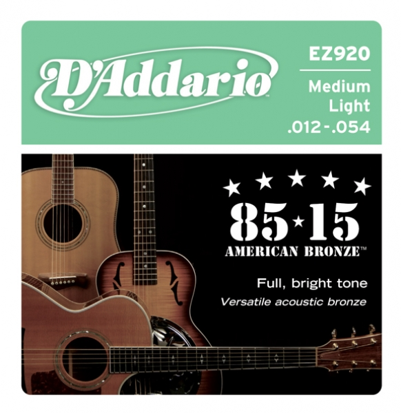 D'Addario - 85/15 Great American Bronze Round Wound - EZ920 muta Medium Light .012-.054